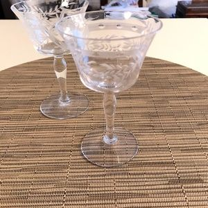 Etched Crystal Wine Glasses (2)